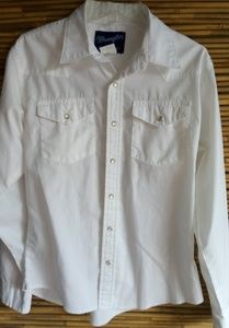 Wrangler White Pearl Snap Western Shirt Sz 14-16